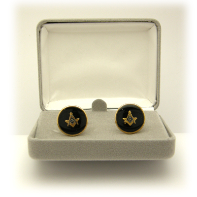 Masonic Cuff Links - Black & Gold#1112