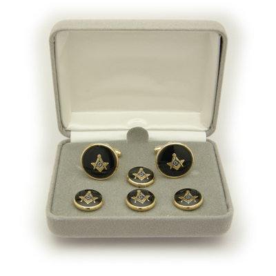 Masonic Cuff Link/Shirt Stud Set, Black & Gold#7028