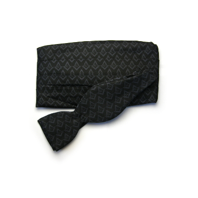 Tone-On-Tone Bow Tie/Cummerbund Set, Black