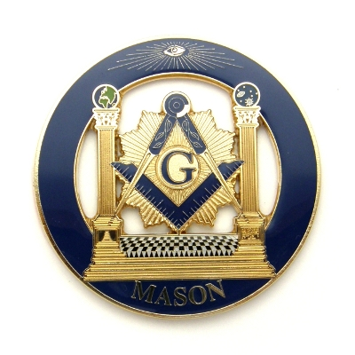 Masonic Auto Emblem with Pillars Emblem AE-53