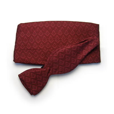 Tone-On-Tone Bow Tie/Cummerbund Set, Maroon