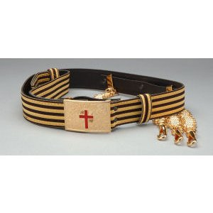 Knight Templar Belt Gold/Black with Chains Slings KT-125GB