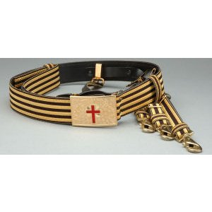 Knight Templar Belt Gold/Black with Straps KT-126GB