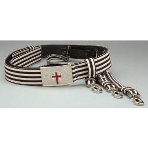 Knight Templar Belt Silver/Black with Straps KT-126SB